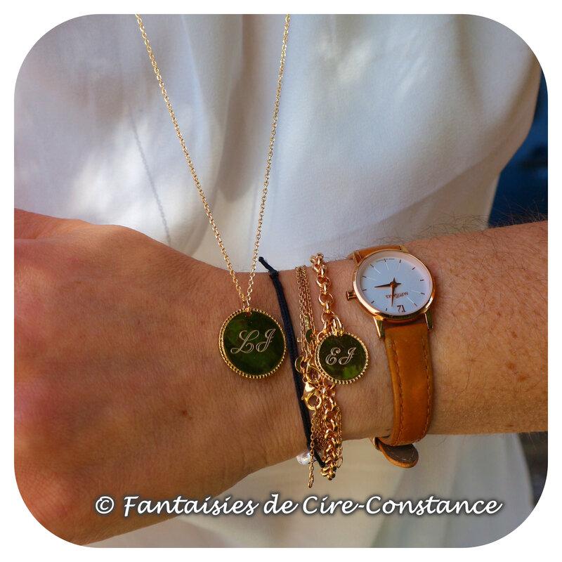 Parure sautoir bracelet médaille boules aplaties-1