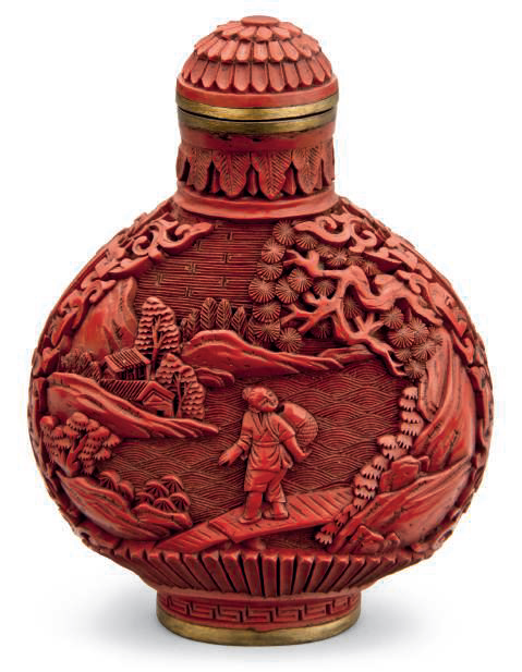 A carved cinnabar lacquer snuff bottle, Qianlong two-character mark in gilt and of the period (1736-1795)