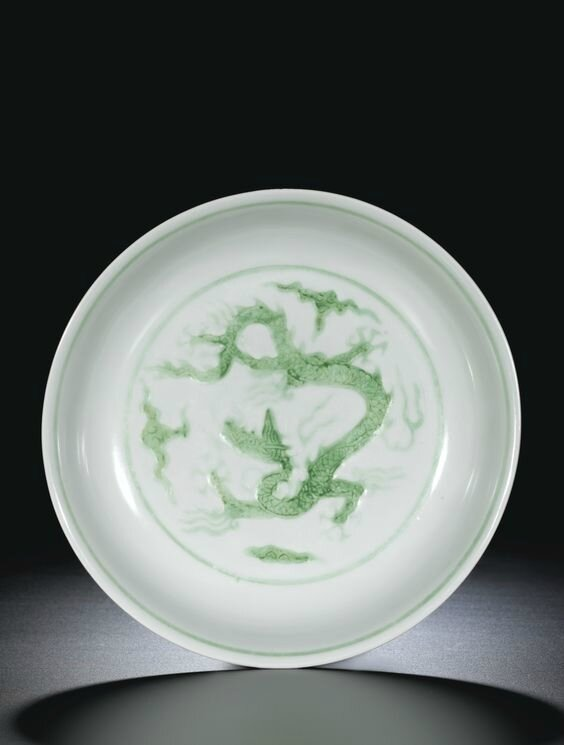A Green-Enamel 'Dragon' Dish, Mark and Period of Zhengde (1506-1521)