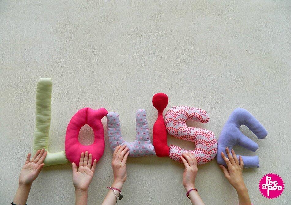louise,mot en tissu,mot decoratif,cadeau de naissance,decoration chambre d'enfant,cadeau personnalise,cadeau original,poc a poc blog