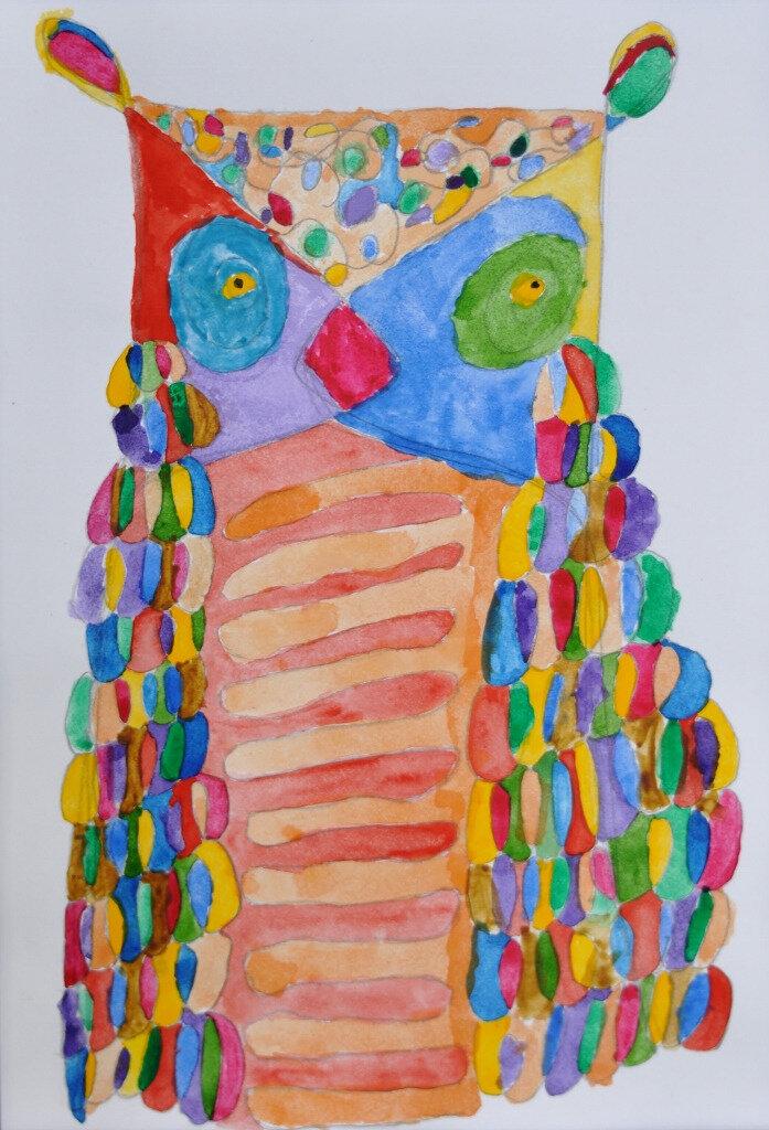 Une chouette hibou en peinture avec les enfants...