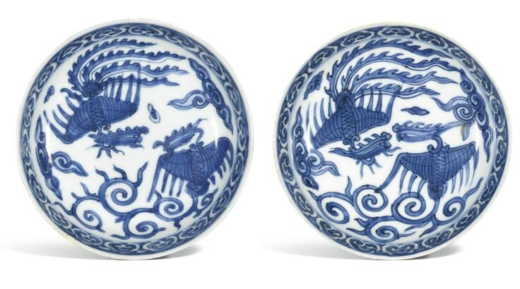 A pair of small blue and white saucer dishes, Wanli mark and period