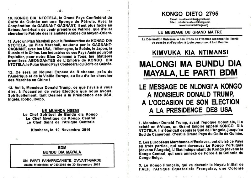 LE MESSAGE DE NLONGI'A KONGO A MONSIEUR DONALD TRUMP A L'OCCASION DE SON ELECTION A LA PRESIDENCE DES USA a