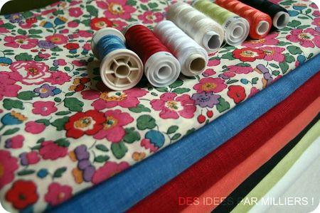 DIPM - Des Idées Par Milliers - Tissu liberty Claire Aude - Tissu vert anis - Tissu bleu - Tissu corail - Tissu blanc