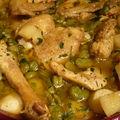 Tajine de poulet au citron confit et aux fèves (cuisson au four)