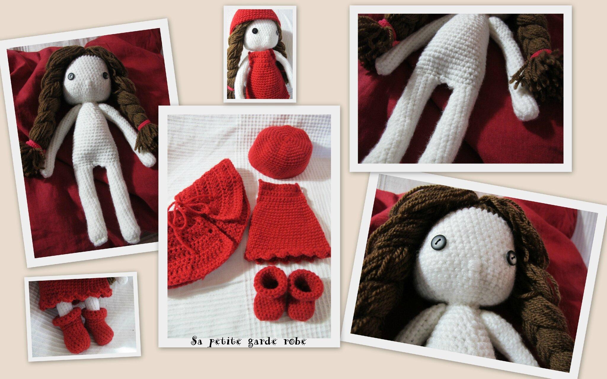 Création poupée crochet et sa tenue rouge