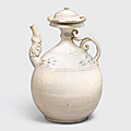 A white glazed ewer and lid with underglaze iron decoration, Trân dynasty, 13th-14th century