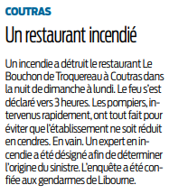 2019 01 29 SO Coutras un restaurant incendié
