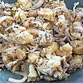 Salade de pommes de terre, maquereaux fumés