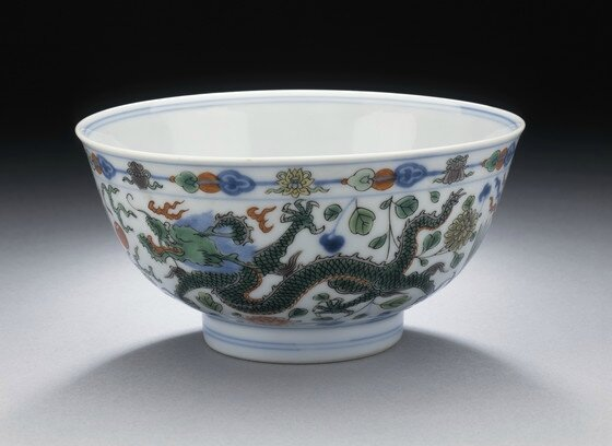 Pair of Bowls (Wan) with Dragons Chasing Flaming Pearl, Qing dynasty, Kangxi mark and period, 1662-1722