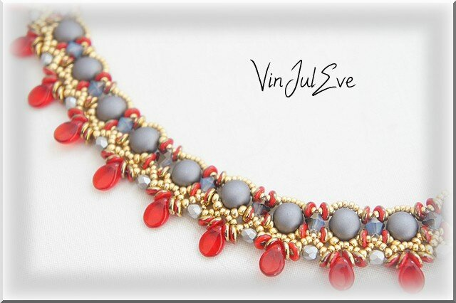 collier Valletta rouge gris or