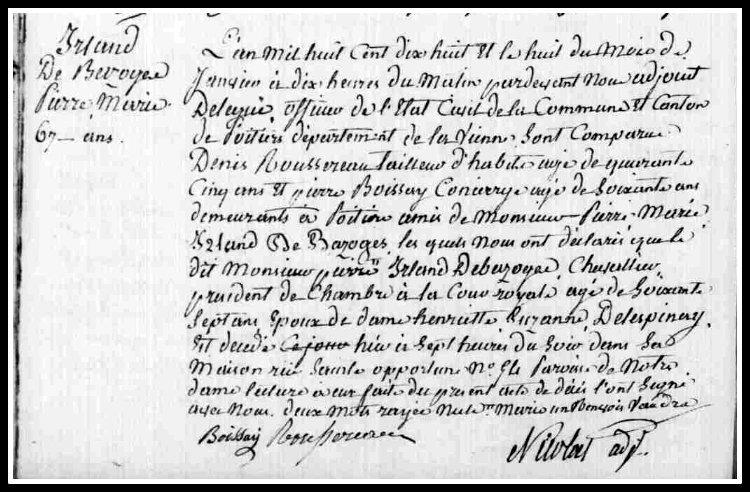 IRLAND PIERRE MARIE acte décès Poitiers