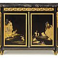 A rare louis xvi ormolu-mounted ebony and japanese black and gilt lacquer commode (meuble d'appui), circa 1765, stamped carlin