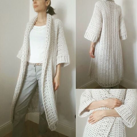 Un long gilet loose au crochet